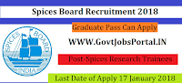Spices Board Recruitment 2018 – 16 Spices Research Trainees