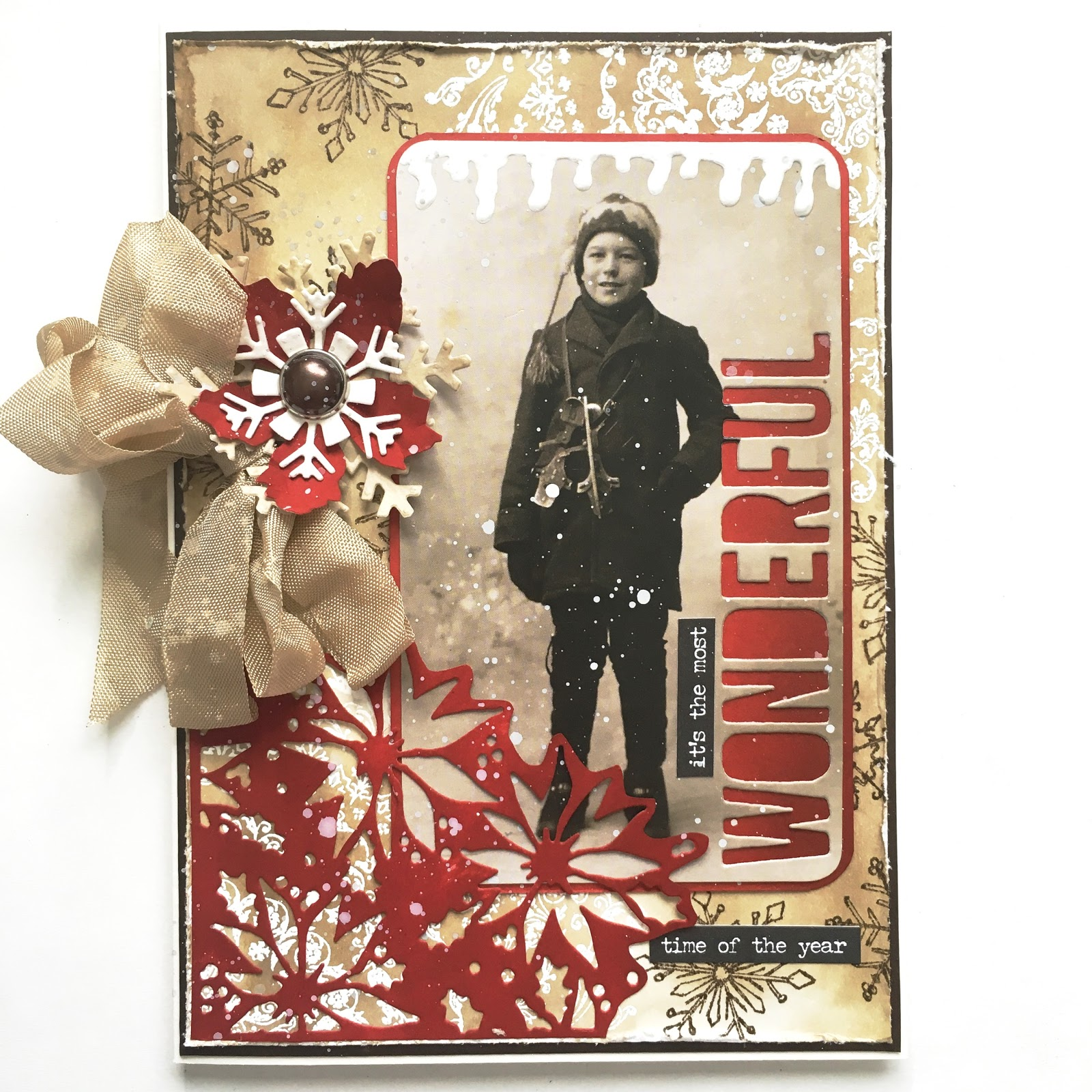 sewpaperpaint vintage christmas with poinsettia die cut