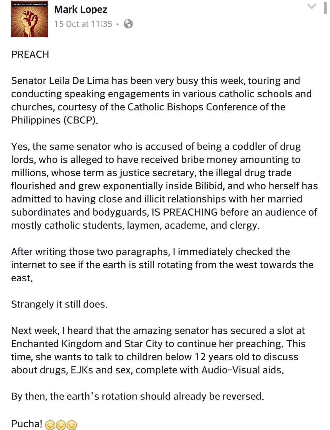 De Lima now a religious preacher?