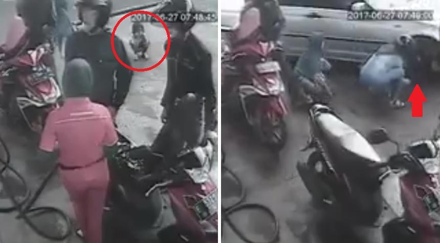 anak jongkok terlindas mobil di SPBU
