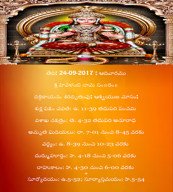 17Today's Panchangam in Telugu