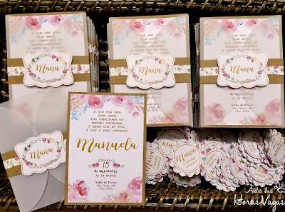 convite de aniversário infantil personalizado artesanal jardim encantado floral aquarelado delicado rosa 1 aninho menina papel kraft rústico