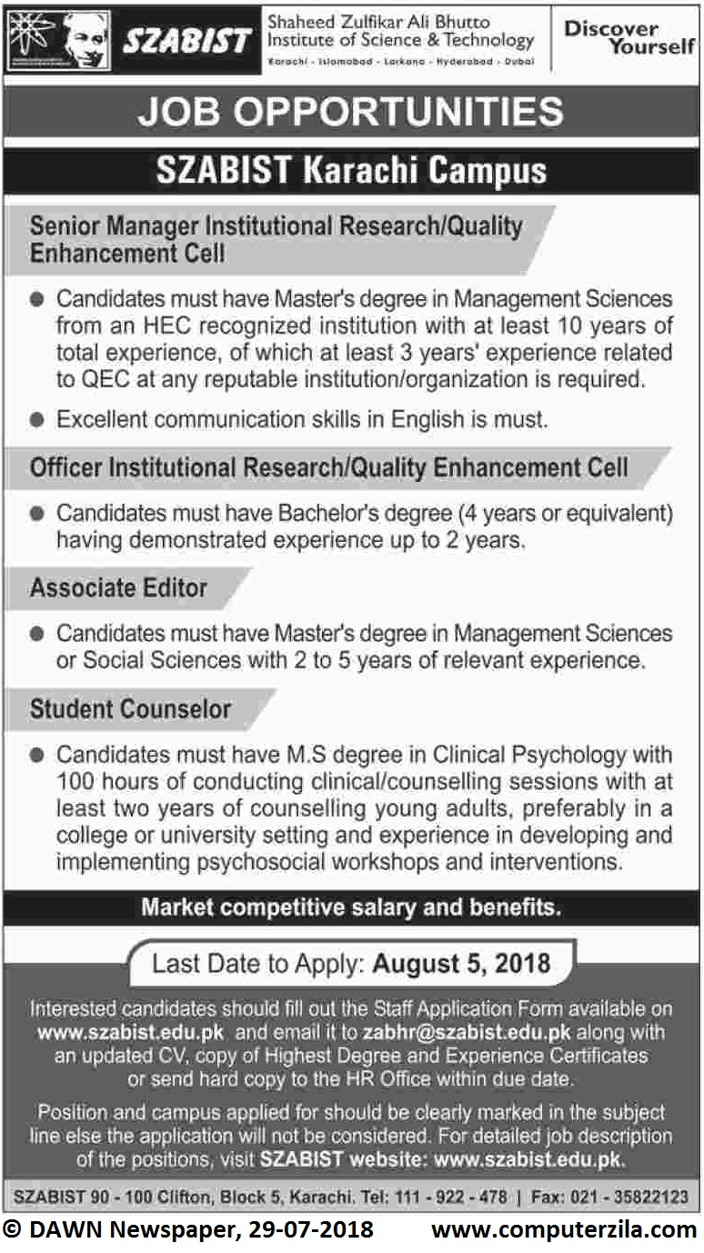 Job Opportunities at Shaheed Zulfikar Ali Bhutto Institute of Science & Technology