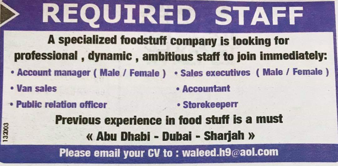 Required Staff for Foodstuff Company UAE- Jobs in Abroad