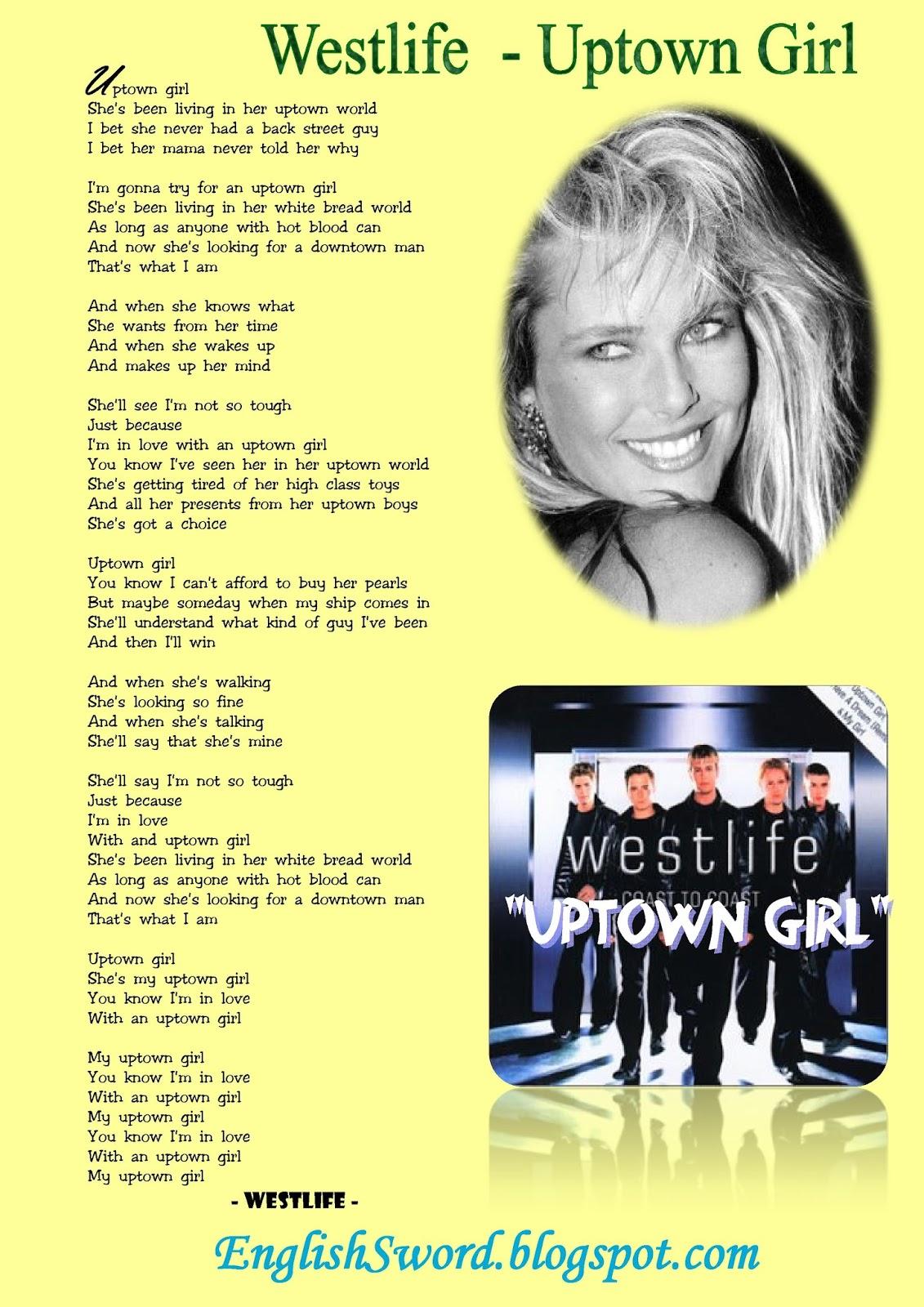 Uptown Girl Lirik : uptown, lirik, Easily, Speaking, Learning, English:, Uptown, Lyrics, Westlife