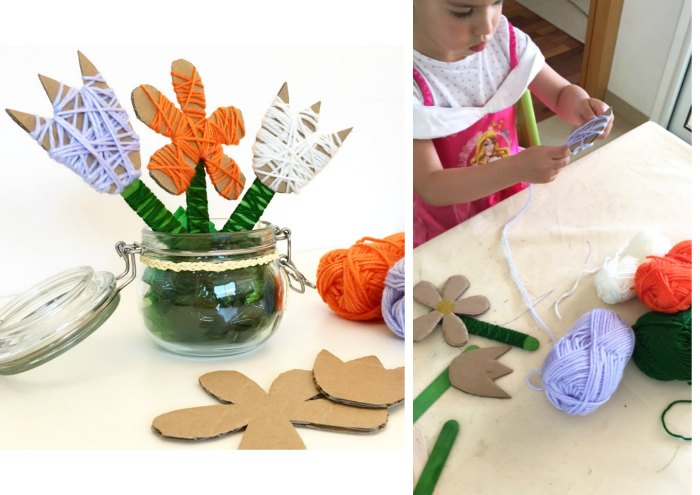 manualidades, diy, crafts, actividades infantiles primavera motricidad fina flores lana cartón