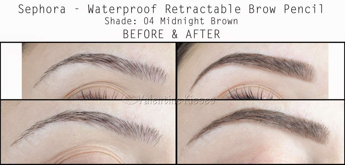 Valentine Kisses Sephora Waterproof Retractable Brow Pencil Before After Pics Swatch Review