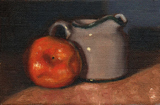 Oil painting of a mandarine beside a small white porcelain milk jug.