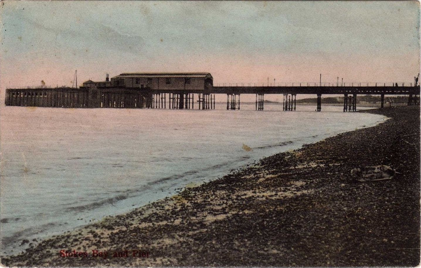 Tinted Postcard of Stokes Bay Pier