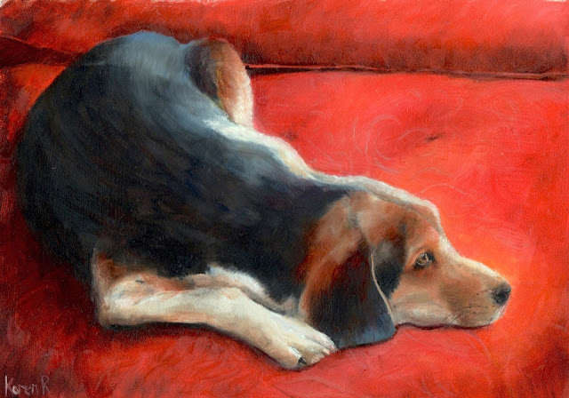 oil painting of Hound dog on a red cushion