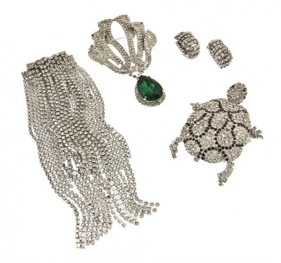Rhinestone collection of jewelry by Pauline Trigère of turtle brooch, necklace, and earrings