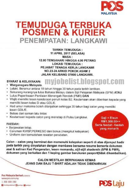 Temuduga Terbuka sebagai posmen Pos Malaysia Berhad Pada 11 April 2017