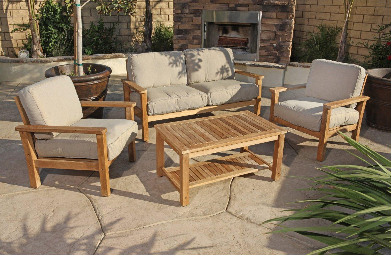 Modern Wicker Sectional Outdoor Sofa Sets: Teak Outdoor Sofa on Patio Loveseat Set id=49972