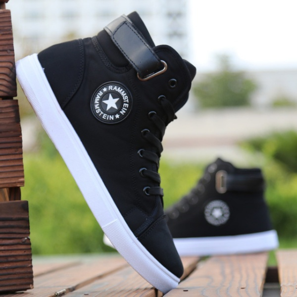 Top Fashion Sneakers Lace-up High Style Solid Colors Man Black Shoes