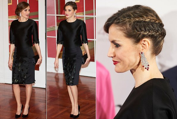 Letizia wears Delpozo dress, Angel Schlesser jumpsuit, Hugo Boss and Carolina Herrera, Spanish brands Zara and Mango
