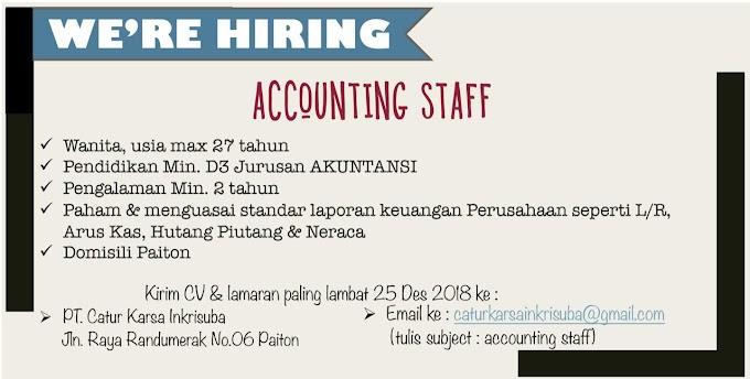 Info Lowongan Kerja, Dibutuhkan Accounting Staff Di PT Catur Karsa Inkrisuba Paiton