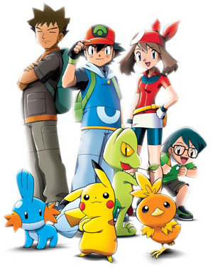 Dibujo de Pokémon con Ash y sus amigos