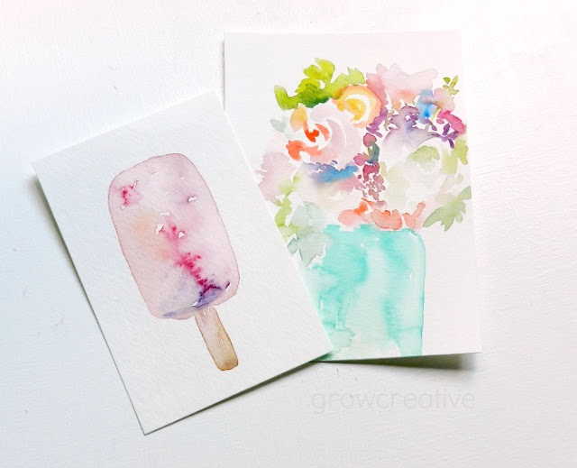 Original Watercolor Popsicle and flowers by Elise Engh