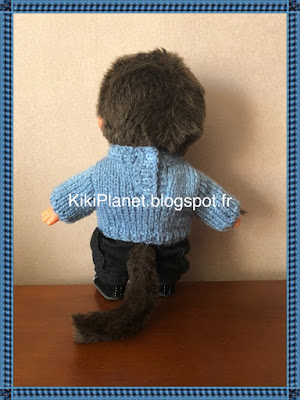 Pull bonhomme de neige fait main pour Kiki ou Monchhichi, handmade, tricot, knitting, vintage