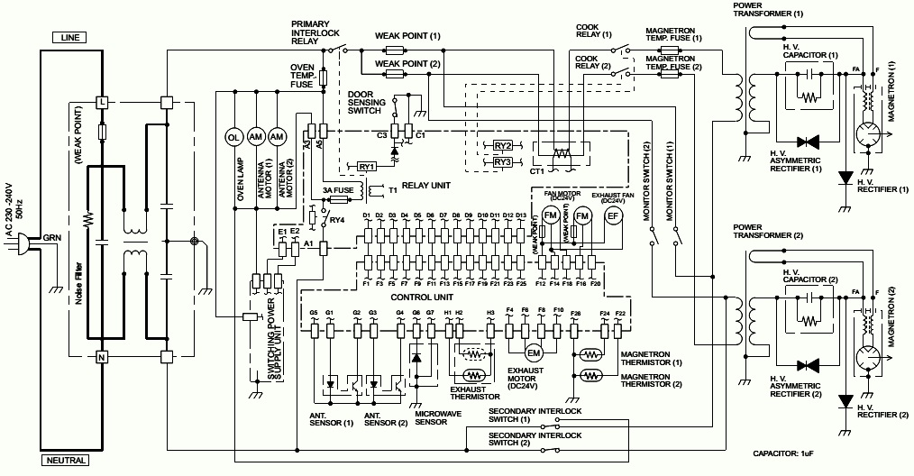 microwave oven wiring diagram with polarities