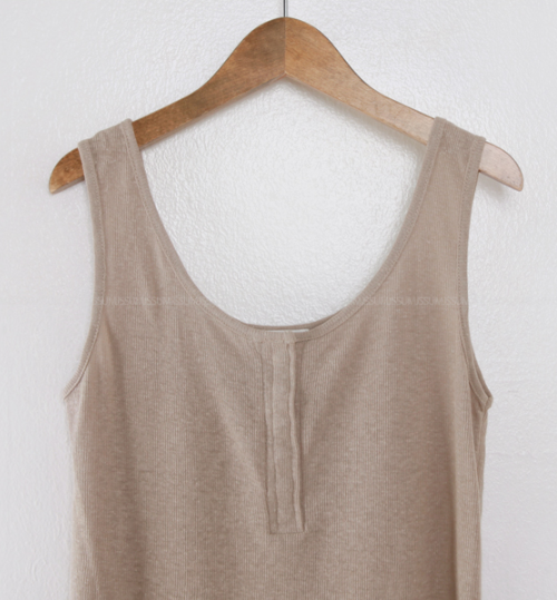 Concealed Snap Button Closure Ribbed Sleeveless Top