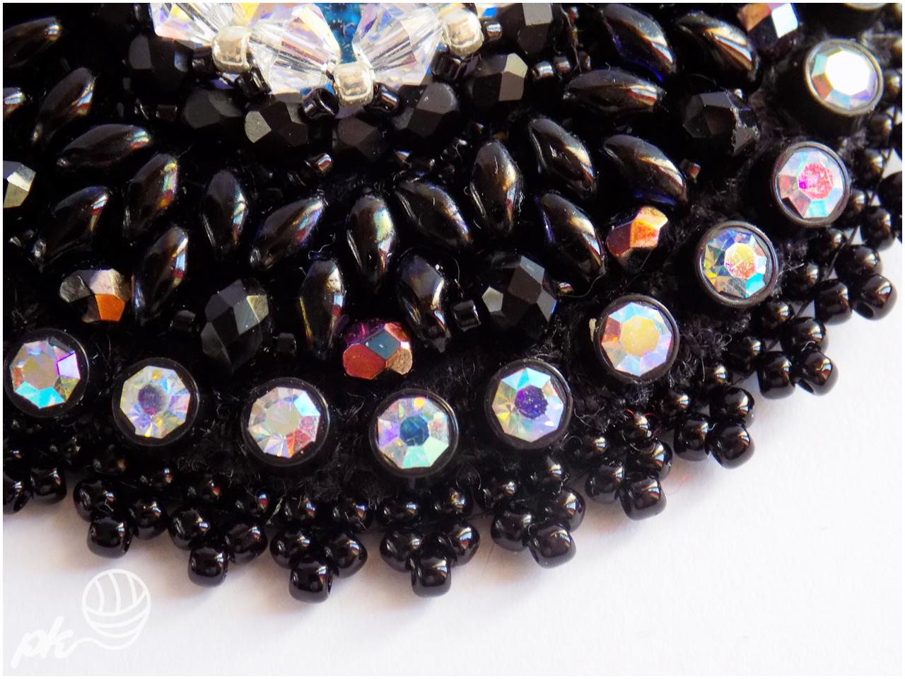 biżuteria, rękodzieło, wisior, kolczyki, rivoli, Swarovski, chwost, komplet, kryształki, elegancja, czerń, handmade, taśma cyrkoniowa