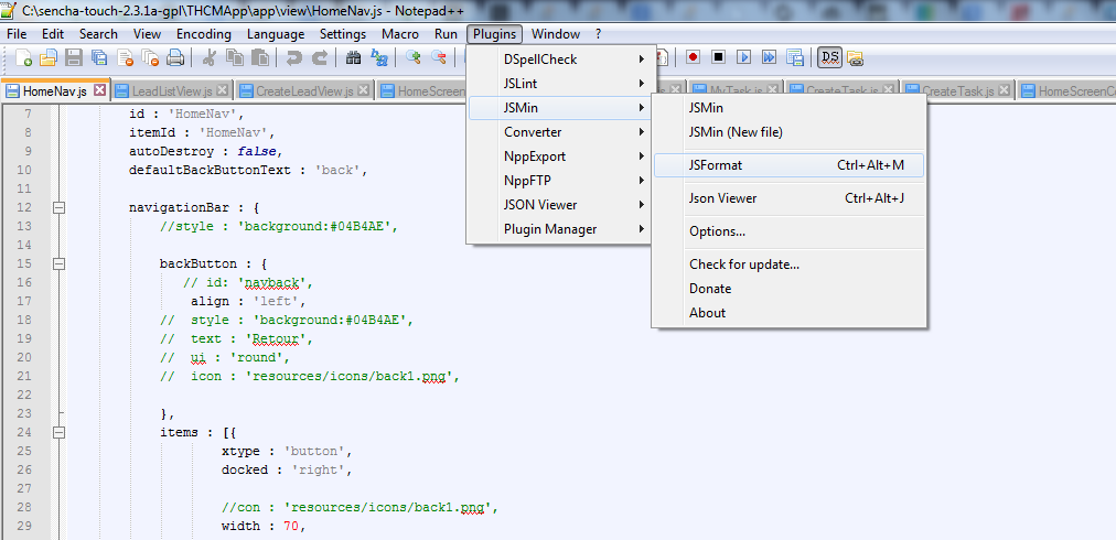 Learning Sencha Touch: How to add indentation plugin to