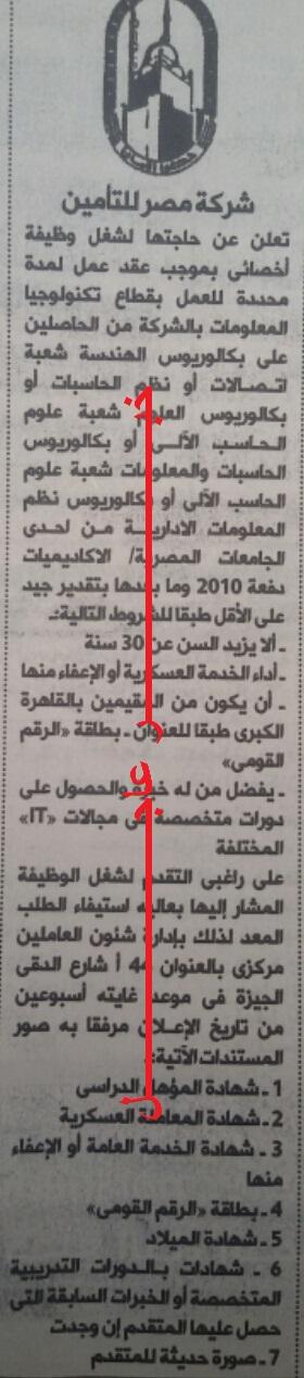 اليوم - اعلان وظائف شركة مصر للتامين بالاهرام والاوراق المطلوبة والتقديم لمدة اسبوعين