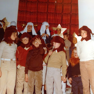 Author playing a part in costume for Nativity