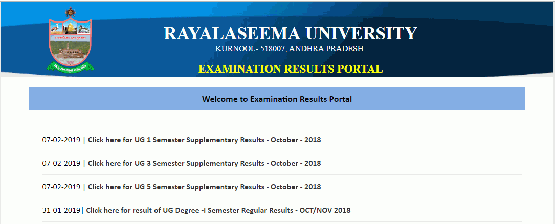 RU UG Exam Supply Results Rayalaseema University