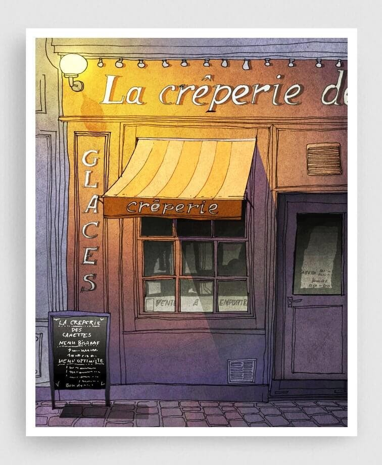 06-Closing-Time-Purple-Paris-Café-Brigitta-Paris-Illustrations-Colorful-Architecture-www-designstack-co