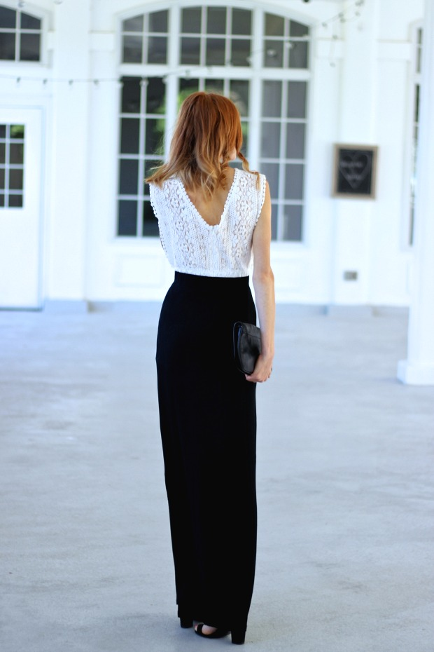 Lace and High Slit Maxi - Tobi Still Love You Maxi Skirt, The Store on Queen romper, Zara Thick Ankle Strap Heel, Tory Burch Britten Clutch