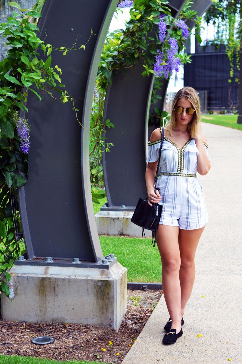 minimalist boho outfit stripe off shoulder playsuit