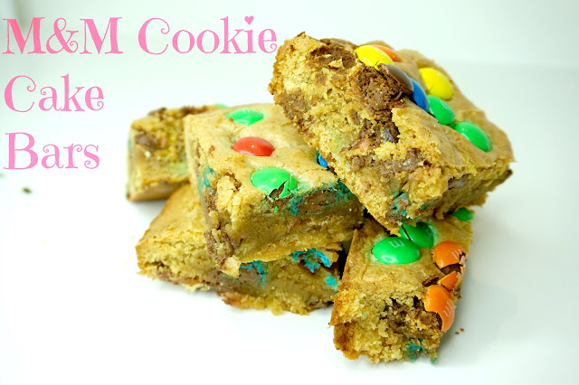 M&M Cookie Cake Bars