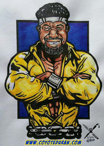 "Shannon ""The Cannon"" Briggs as Luke Cage: Power Man, Sketchbook Chronicles No. 8, ink, watercolor paint and Copic art marker on sketch paper. Art by Coyote Duran."