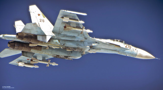 Russian SU-27 Flanker aircraft photographed from a RAF Typhoon.