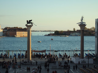 The Lion of Venice sits atop one of two columns at the end of the Piazzetta of St Mark's