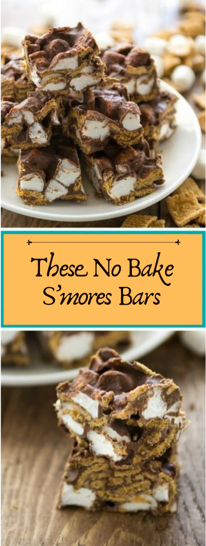 These No Bake S'mores Bars #desserts #cakerecipe