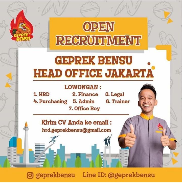 Open Recruitment Lowongan Kerja di Geprek Bensu Head Office Jakarta