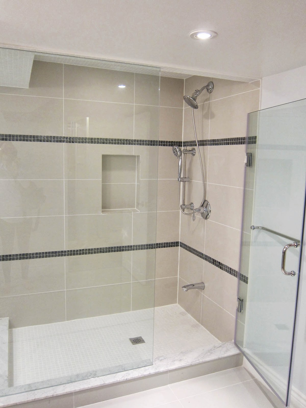 Just An Idea Of What Beige Cream Tan Tiles Look With White Shower Pan Solid Surface Shower Pan With E Small Bathroom Renovations Bathroom Design Shower Remodel