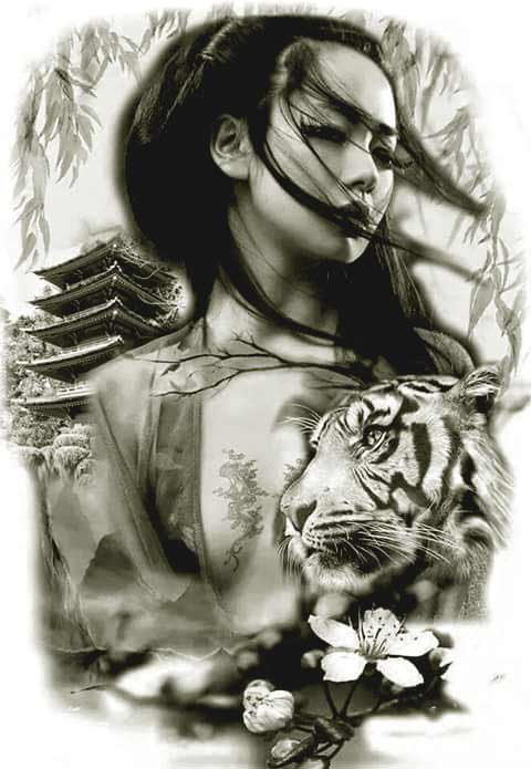 Geisha with tiger tattoo designs ideas for women