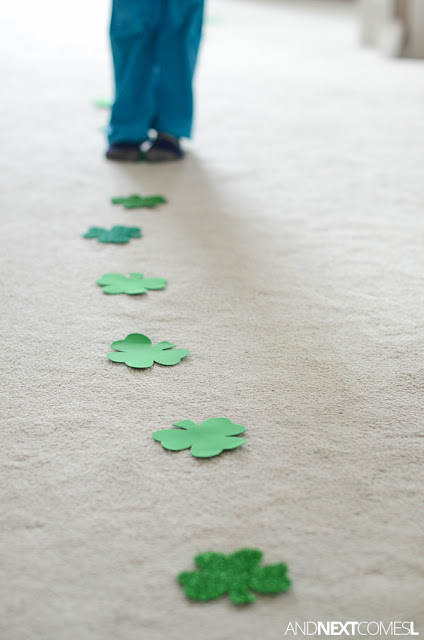 St. Patrick's Day themed gross motor activity for kids from And Next Comes LGross motor counting game for kids that's perfect for St. Patrick's Day from And Next Comes L