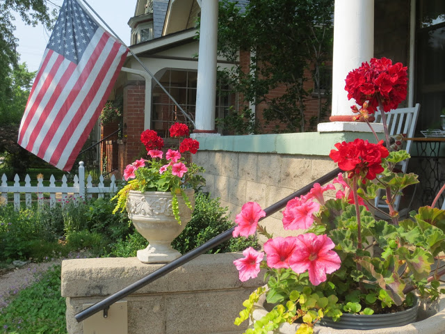 geraniums, nostalgia, patriotic, This old house