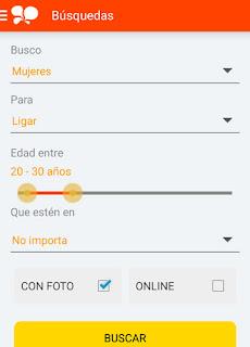 Opciones busqueda pareja en Mobifriends app