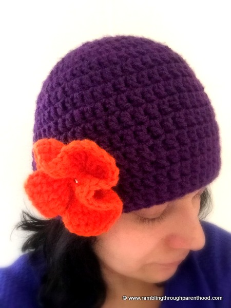 Ruffle crochet flower to embellish my crocheted hat