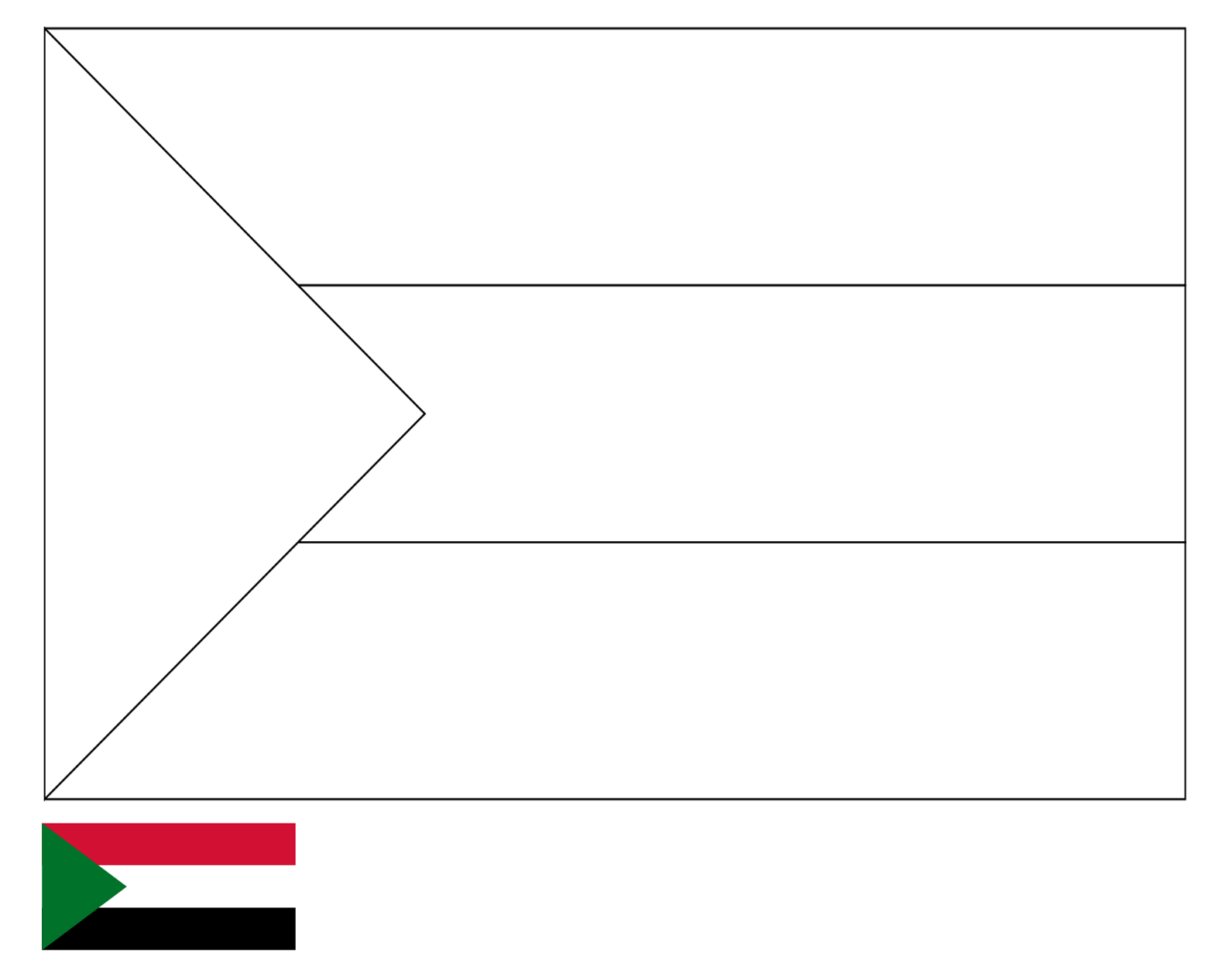 Coloring page flag of sudan drawing outline vectors free