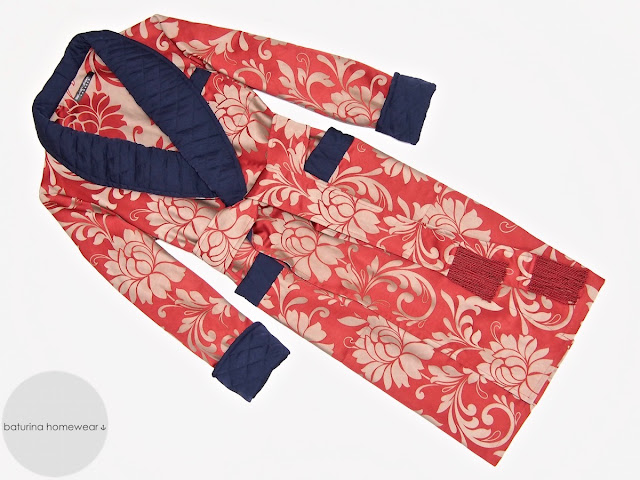 Mens floral paisley dressing gown silk smoking jacket red blue