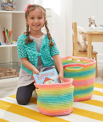 striped crochet baskets