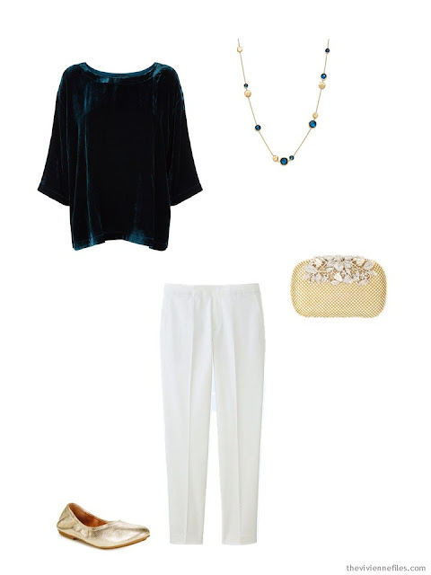 a teal velvet top and winter white pants for the holidays