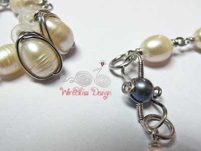 Pearl wire wrap stud earrings and wire clasp
